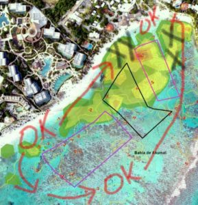 Free zones for swimming-snorkeling - black Xs indicate boat mooring areas